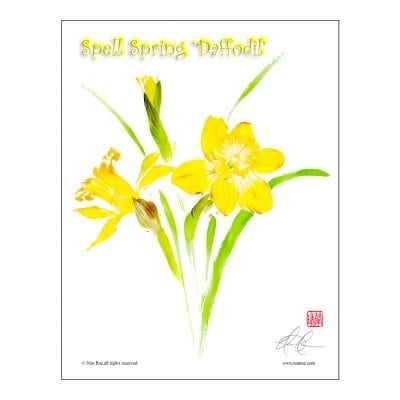 Daffodils Brush Painting Class Lesson by Nan Rae
