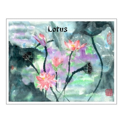 Lotus Brush Painting Class Lesson by Nan Rae