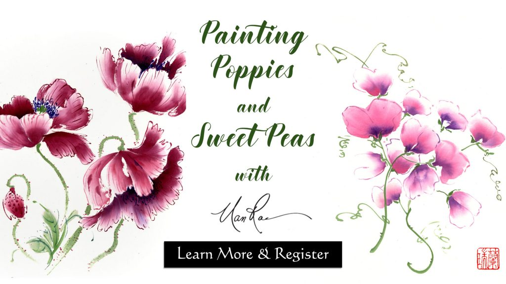 Poppies and Sweet Pea Online Brush Painting Class