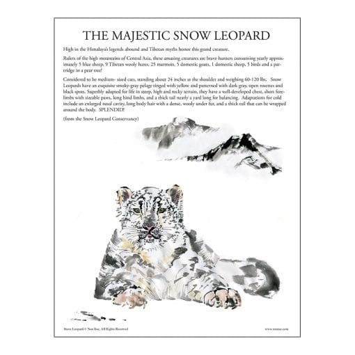 Snow Leopard Brush Painting Class Lesson by Nan Rae