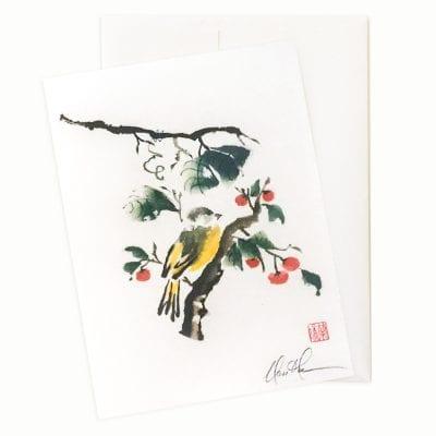 24-57 Persimmon in Love (Bird and Persimmons) Card by Nan Rae