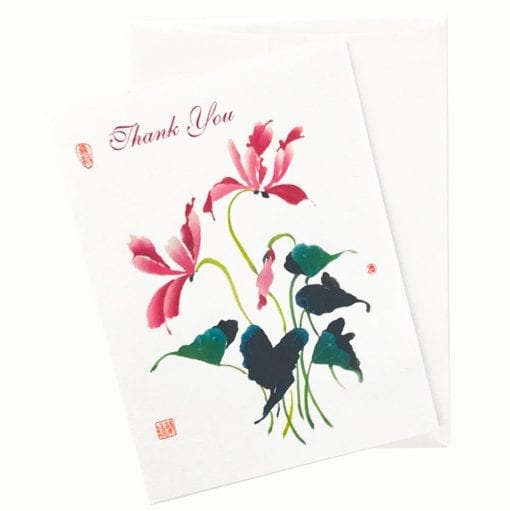 18-15T Cyclamen Thank You Card by Nan Rae