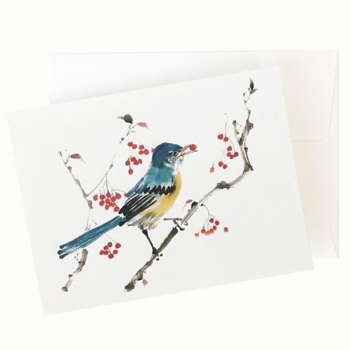 Rich Pickings (Bird and Christmas Berries) Card by Nan Rae