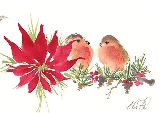 Poinsettia and Birds Painting