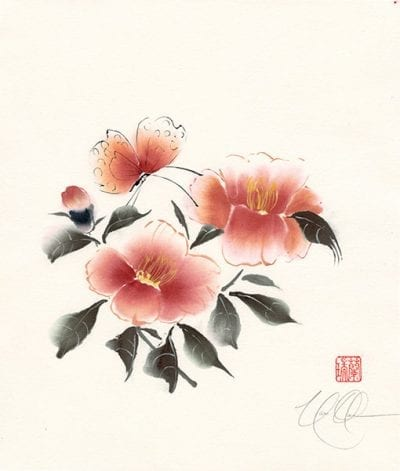 Camellia with Butterfly painting by Nan Rae