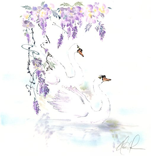 Original Swans and Wisteria painting by Nan Rae