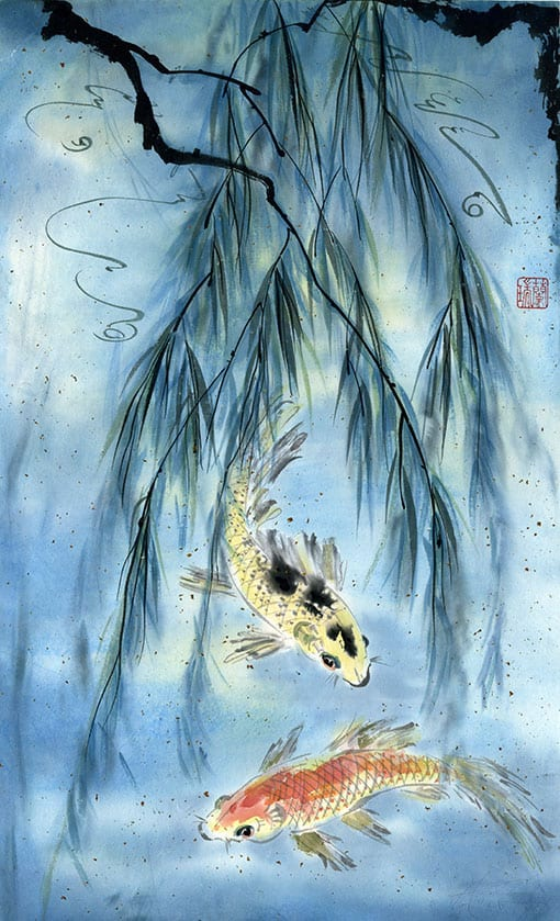 Original Koi painting by Nan Rae