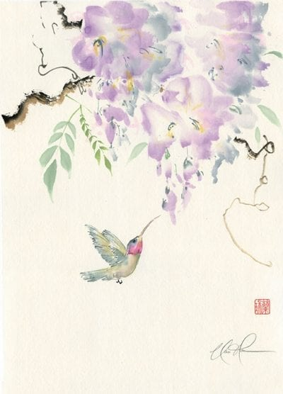 Original Wisteria with Hummingbird painting by Nan Rae
