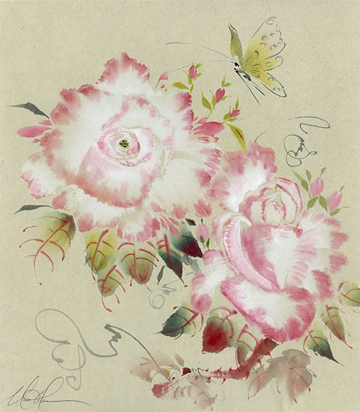 Roses with Butterfly painting by Nan Rae