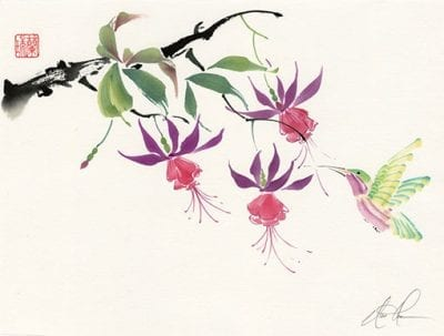 Original Fuchsia and Hummingbird painting by Nan Rae