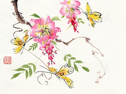 Original Wisteria and Butterflies painting by Nan Rae