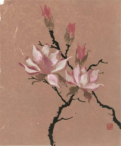 original Chinese Magnolia painting by Nan Rae