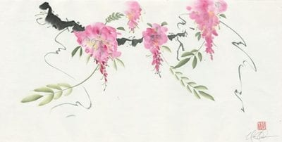 Wisteria Original Brush painting by Nan Rae
