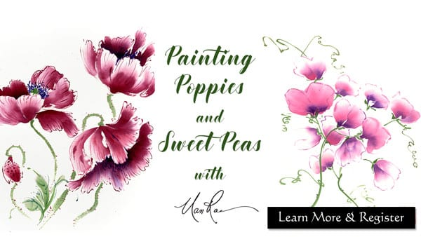 Poppies and Sweet Peas Online painting class by Nan Rae
