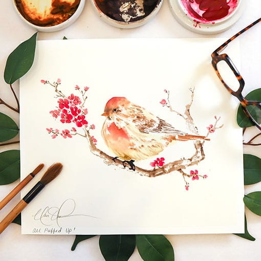 Bird on Cherry Blossoms branch painting by Nan Rae