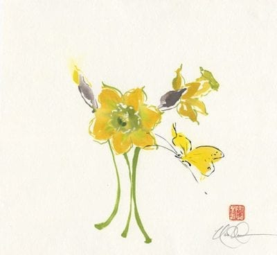 Daffodils and Butterfly painting
