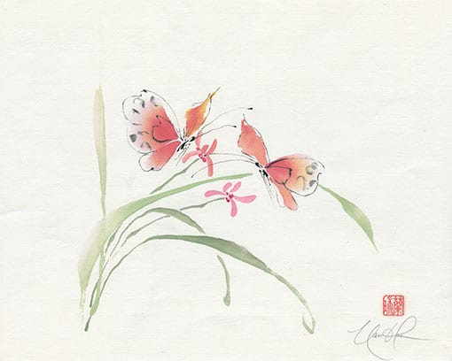 Orchid and Butterflies painting
