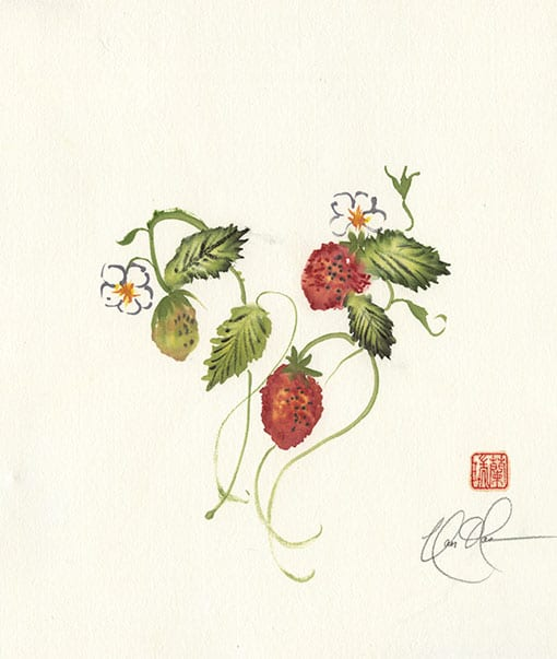 Strawberries painting