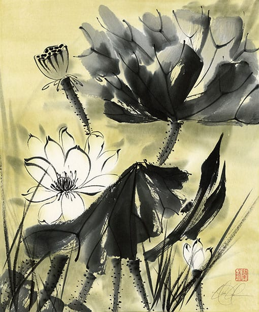 Lotus painting by Nan Rae