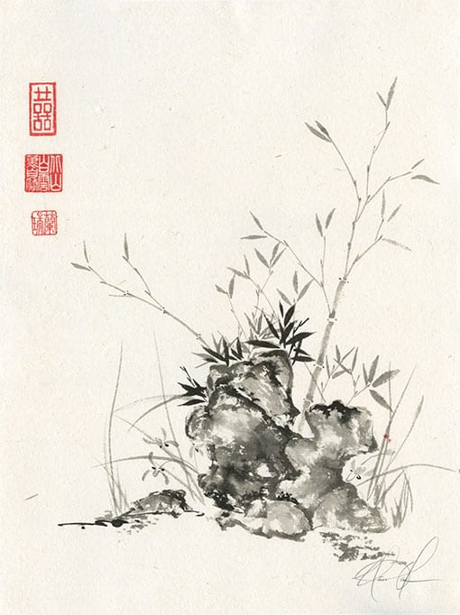 Bamboo, rock, orchid painting