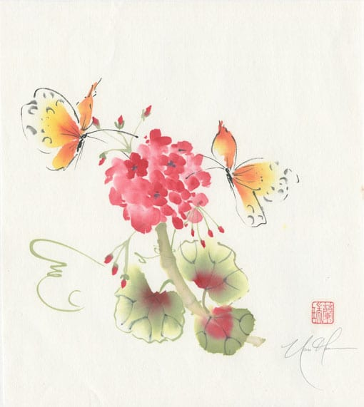 Geranium with butterfly painting