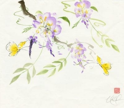 wisteria and butterflies