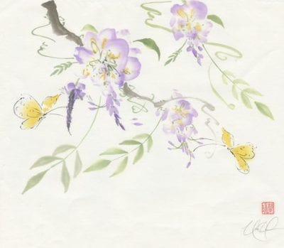 butterfly and wisteria painting