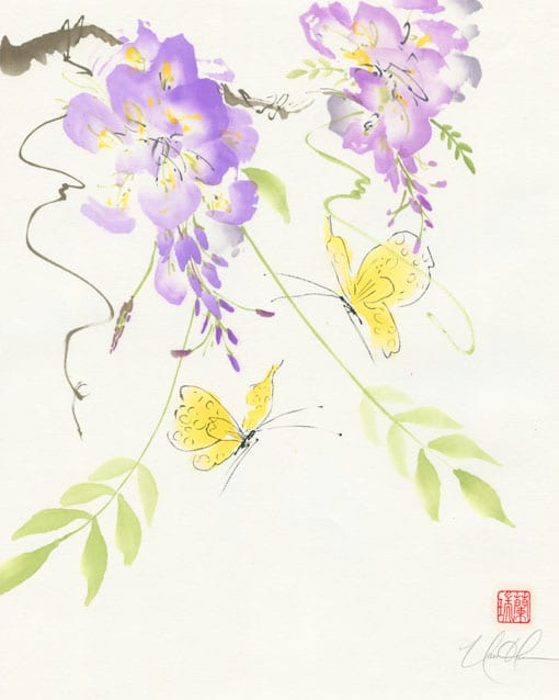 butterfly and wisteria