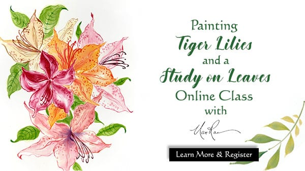Tiger Lilies and Leaves Online Painting Class